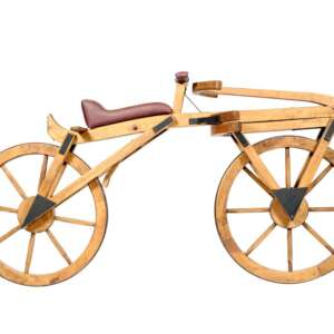 El inventor de la bicicleta Karl Von Drais y su draisiana